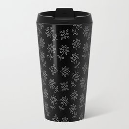 Black and White Floral Pattern Travel Mug
