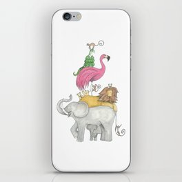 A Stack Of Animals with elephant, lion, flamingo, monkeys and snake iPhone Skin