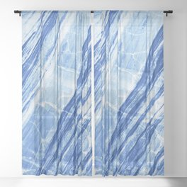 Abstract Marble - Denim Blue Sheer Curtain