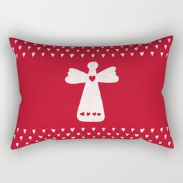 Christmas Angel with hearts on red Rectangular Pillow