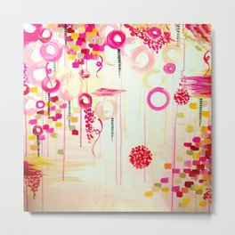 BALLOON LOVE Bubblegum POP! Beautiful Cheerful Bubbles Pretty Pink  Abstract Acrylic Painting Sky Metal Print