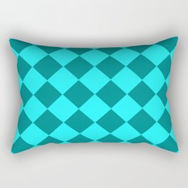 Turquoise checkered pattern . Rectangular Pillow