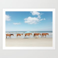 Summer Coast Horse Stride Art Print