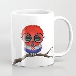 Baby Owl with Glasses and Croatian Flag Coffee Mug