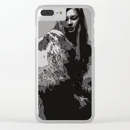 Woman with fur coat in black and white Clear iPhone Case