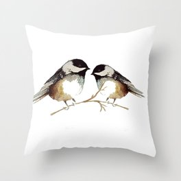 Winter chickadees watercolor Throw Pillow