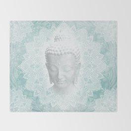 Tibetan Dream Blue White Buddha Mandala Throw Blanket