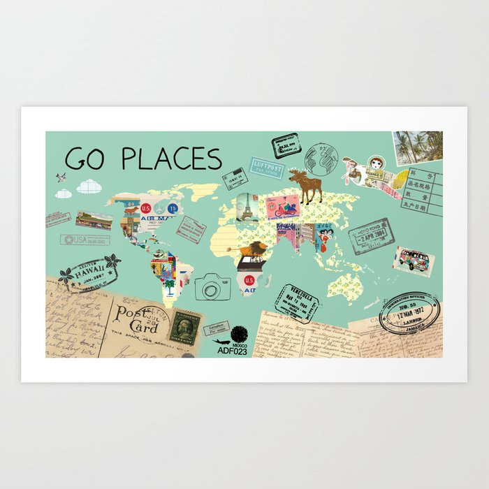 Go places world map collage poster print art print by claudiaschoen go places world map collage poster print art print gumiabroncs Images