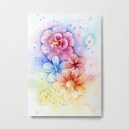 Flowers Watercolor Floral Colorful Rainbow Painting Metal Print