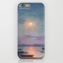 View of the Briere in the Setting Sun - Tropical Impressionist Oil, Seascape by Ferdinand du Puigaudeau iPhone Case