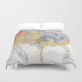 1874 Geological Map of the United States Duvet Cover