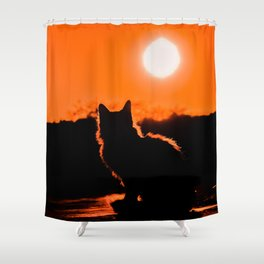 Cat and Sunset Shower Curtain