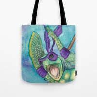 ninja turtle Tote Bags featuring Chad the Ninja Sea Turtle Wannabe by Weasels on Easels