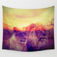 lions Wall Tapestries featuring Magic Animals Lions by MehrFarbeimLeben