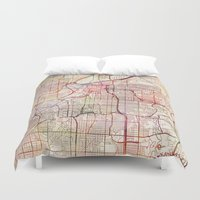 kansas Duvet Covers featuring Kansas City by MapMapMaps.Watercolors