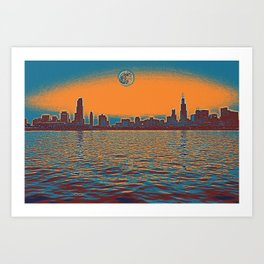 chicago full moon 2 Art Print