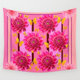 SHADES OF PINK DAHLIAS YELLOW BUTTERFLIES Wall Tapestry