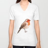 robin V-neck T-shirts featuring Robin by Lore Illustration