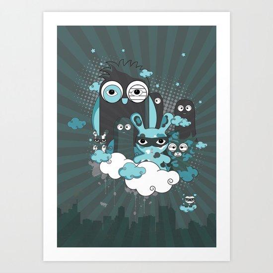 Nocturnal Friends Art Print