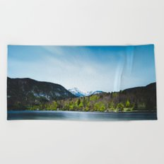 Lake Bohinj with Alps in Slovenia Beach Towel