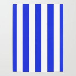 Palatinate blue - solid color - white vertical lines pattern Poster