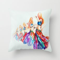 Belly Dancer in Motion Throw Pillow