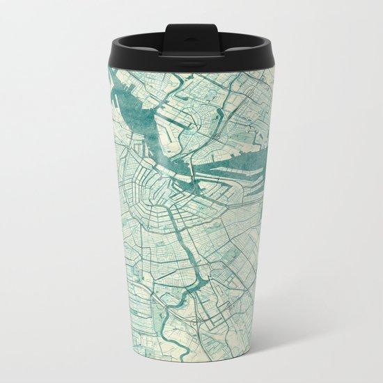Amsterdam Map Blue Vintage Metal Travel Mug