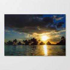 Silhouettes Of Palm Trees And Huts At Sunset in French Polynesia Canvas Print