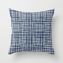 Sloane Grid - navy blue grid pillow, home decor, painterly Throw Pillow