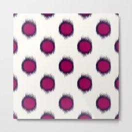 Ikat Dots Raspberry Plum Metal Print