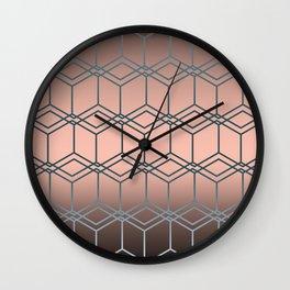 Brown pink geometric pattern Wall Clock