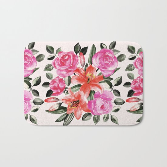 Roses and Lilies in watercolor Bath Mat