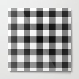 Black Gingham Pattern Metal Print