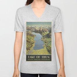 Vintage poster - Lake of Thun Unisex V-Neck