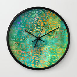 Green Watercolor Leopard Print Pattern - Animal Print Design Wall Clock