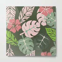Tropical leaves green and pink paradises Metal Print