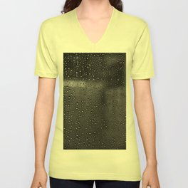 Black and White Rain Drops; Abstract Unisex V-Neck