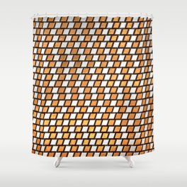 Irregular Chequers - Steel and Copper - Industrial Chess Board Pattern Shower Curtain