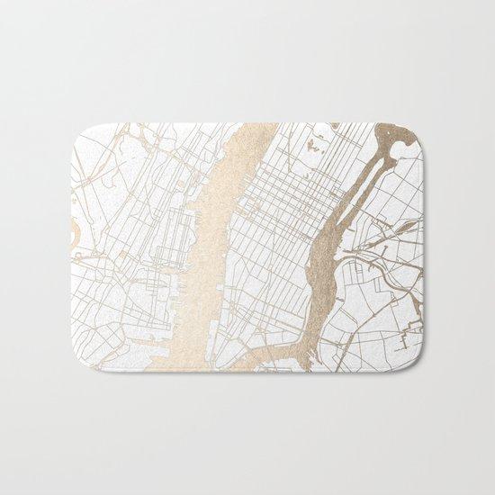 New York City White on Gold Bath Mat
