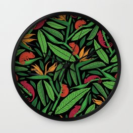 Palm Fronds and Chameleons I Wall Clock