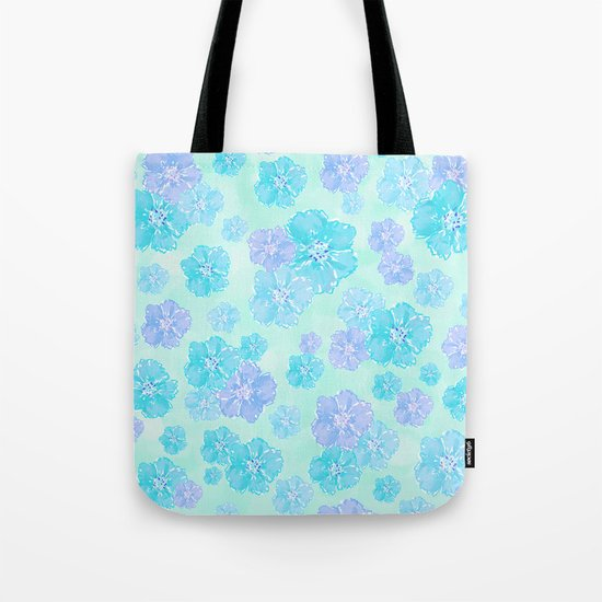 Blossoms Aqua Blue Mint Tote Bag