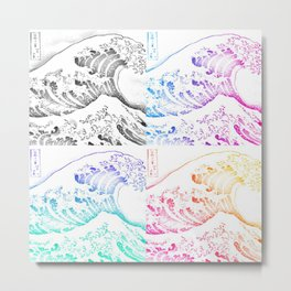 The Great Wave Sketch Color Block Collage Metal Print
