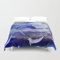 narwhal Duvet Covers featuring Ocean narwhal  by Nikkistrange