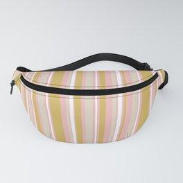 Splendid Stripes - Retro Modern Stripe Pattern in Gold, Pink, White, and Mushroom Fanny Pack