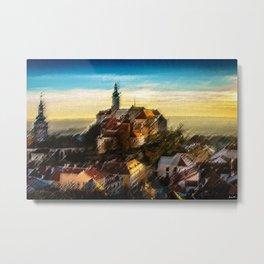 Czechoslovakia Sunday Hilltop Village Landscape by Jeanpaul Ferro Metal Print