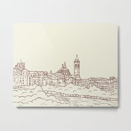 Hand drawn skyline of Citta Alta Bergamo, Italy Metal Print