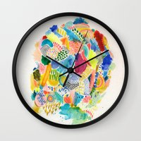 katamari Wall Clocks featuring It's like a fucking awesome incredible dream by Marcelo Romero