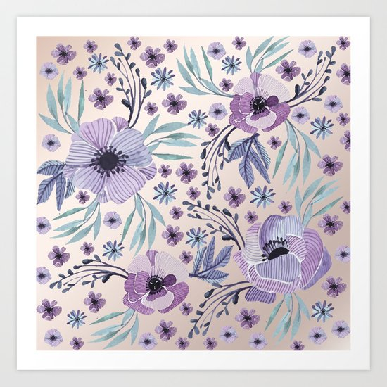 Purple Flowers and Green Leaves Art Print