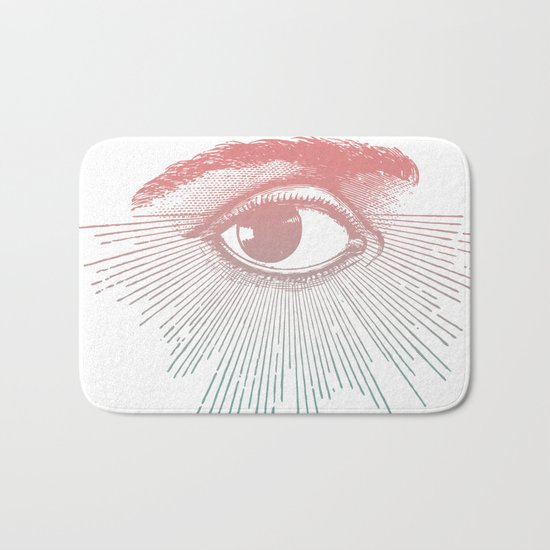I See You. Pink Turquoise Gradient Sunburst Bath Mat