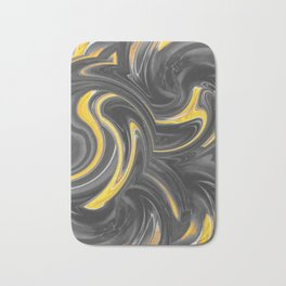 yellow and black spiral painting abstract Bath Mat